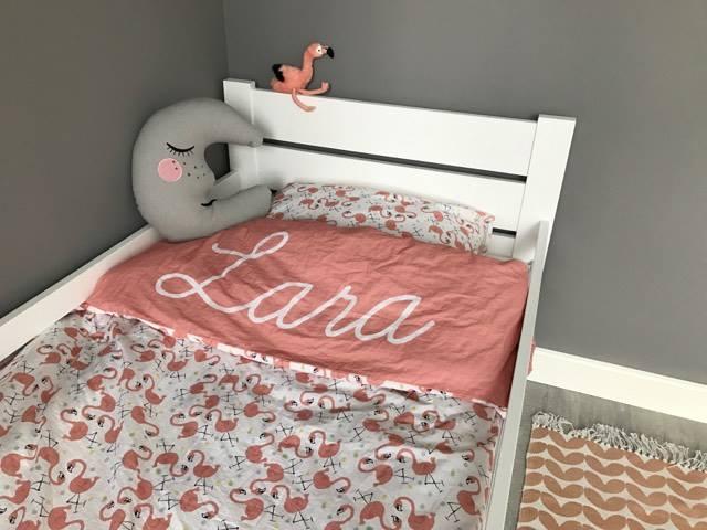 Dekbedovertrek persoons flamingo met naam van je kindje label r
